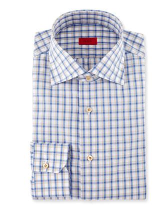 Box-Check Dress Shirt, Blue/Tan