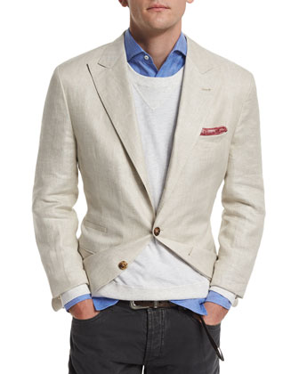 Linen Two-Button Blazer, Rope