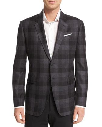 Buffalo Check Wool Sport Coat, Black