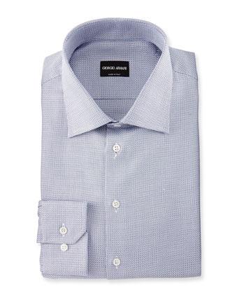Tick-Weave Dress Shirt, White/Blue