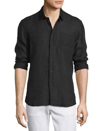 Linen Long-Sleeve Shirt, Black