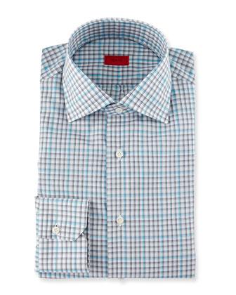 Check Long-Sleeve Dress Shirt, Gray