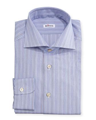 Alternating Fine-Stripe Woven Dress Shirt, Blue/Rust