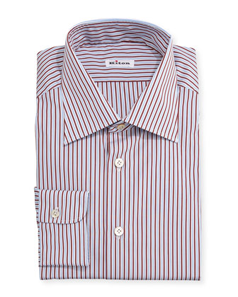 Striped Woven Dress Shirt, Light Blue/Red
