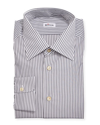 Striped Woven Dress Shirt, Gray/Olive