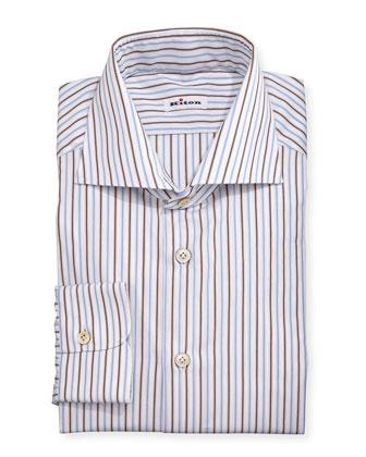 Multi-Striped Woven Dress Shirt, Blue/Brown/White