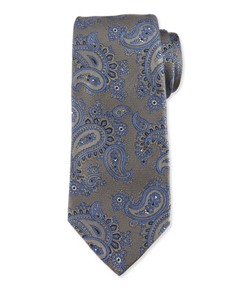 Woven Paisley-Print Silk Tie