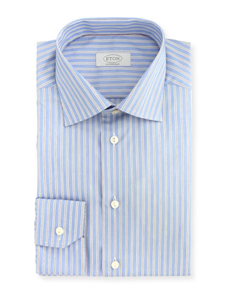 Contempoary-Fit Double Track-Stripe Dress Shirt, Light Blue/White