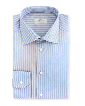 Contempoary-Fit Double Track-Stripe Dress Shirt, Light Blue/White