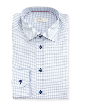 Contemporary-Fit Micro-Check Dress Shirt, Navy/Gray