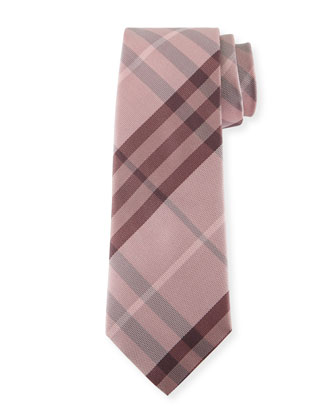 Heathered Check Silk Tie, Pink