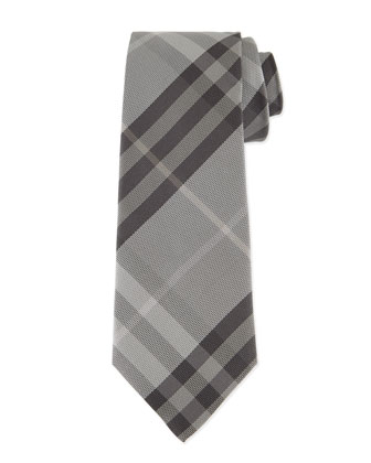 Textured Check Silk Tie, Gray