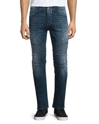 Rocco Concrete Lake Moto Denim Jeans, Blue