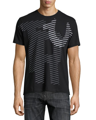 Linear Logo-Graphic Short-Sleeve Tee, Black