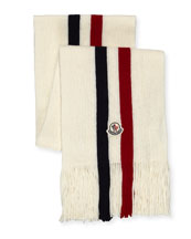 Logo-Stripe Fringed Scarf, White