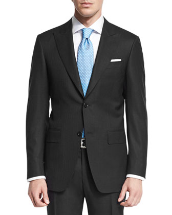 Sienna Contemporary-Fit Textured Solid Suit, Black