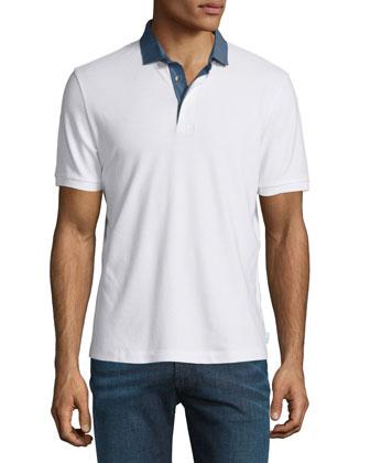 Pique Polo Shirt with Chambray Collar, White