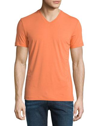 Short-Sleeve V-Neck Jersey Tee, Orange