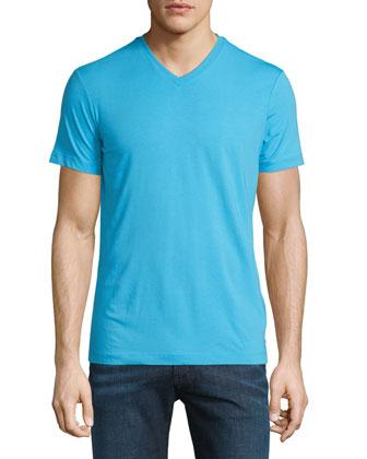 Short-Sleeve V-Neck Jersey Tee, Bright Blue