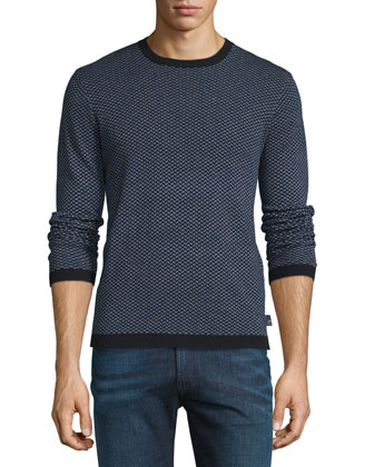 Textured-Print Crewneck Sweater, Multi