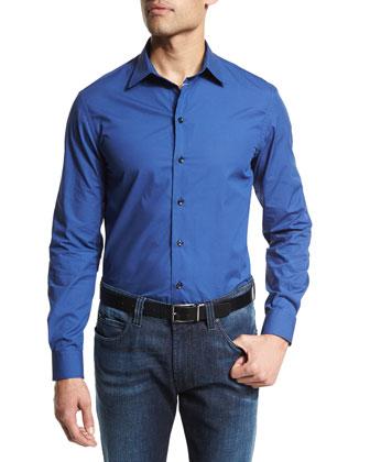 Mini Dot-Print Long-Sleeve Sport Shirt, Blue