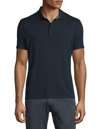 Short-Sleeve Stretch Polo Shirt, Navy
