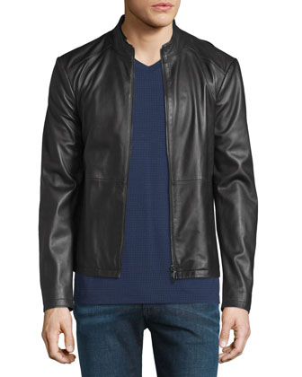 Cropped Leather Jacket, Black