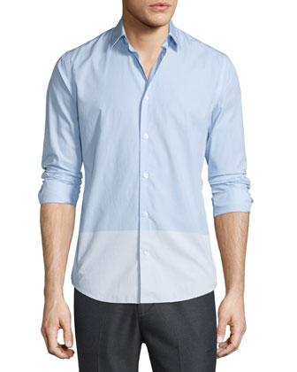 Melrose Engineered-Stripe Sport Shirt, Light Blue