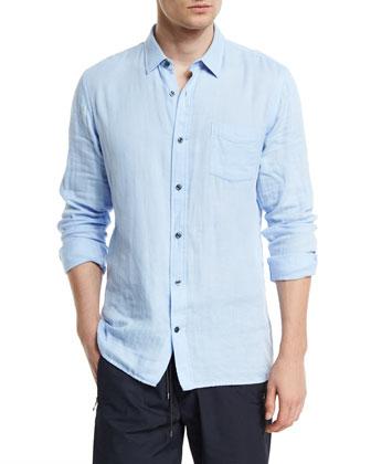 Double-Face Square-Hem Sport Shirt, Light Blue