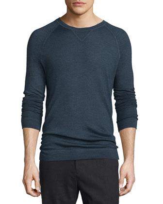 Raglan-Sleeve Crewneck Sweater, Navy