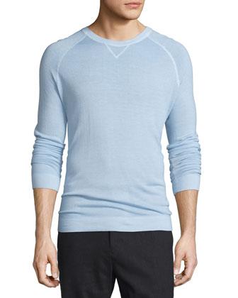 Raglan-Sleeve Crewneck Sweater, Light Blue