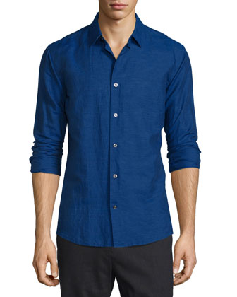 Melrose Linen-Blend Sport Shirt, Dark Blue
