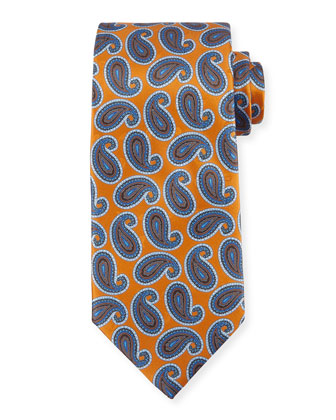 Large Paisley-Print Silk Tie, Orange