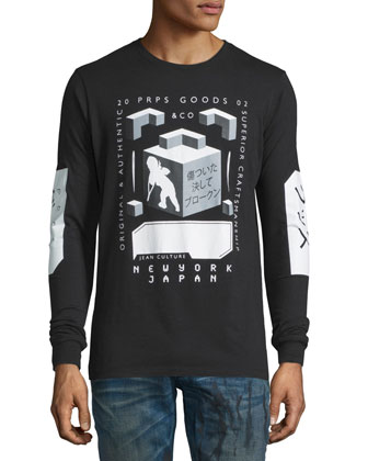 Block-Graphic Long-Sleeve Jersey Tee, Black