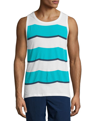 Rugby Waves Graphic Tank, Blue