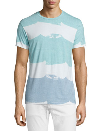 Colorblock Waves Short-Sleeve Graphic Tee, Light Blue