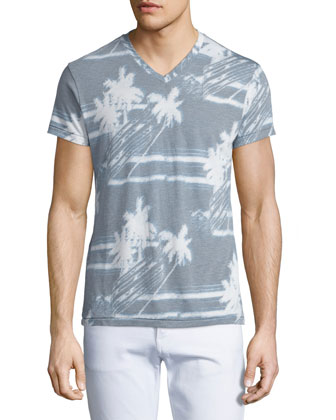 Palm Breeze V-Neck Graphic Tee, Light Gray