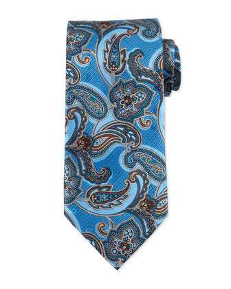 Paisley-Print Silk Tie, Light Blue