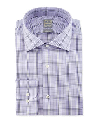 Large Windowpane-Check Woven Dress Shirt, Lavender/Navy