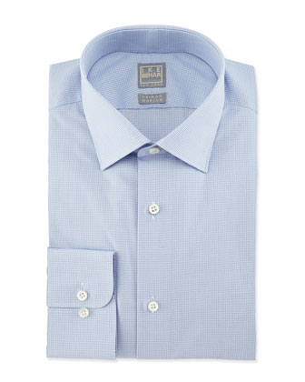 Micro-Check Woven Dress Shirt, Light Blue