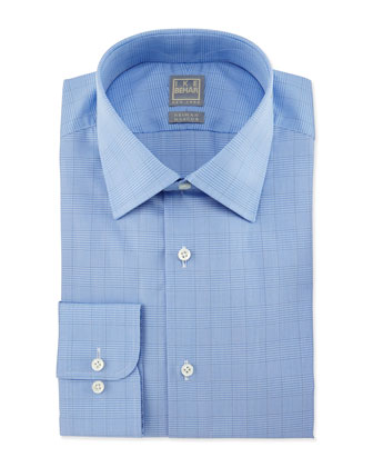 Glen Plaid Woven Dress Shirt, Blue
