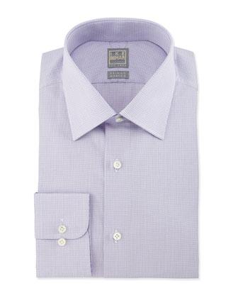 Micro-Check Woven Dress Shirt, Lavender