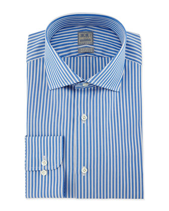 Bold Stripe Woven Dress Shirt, Blue