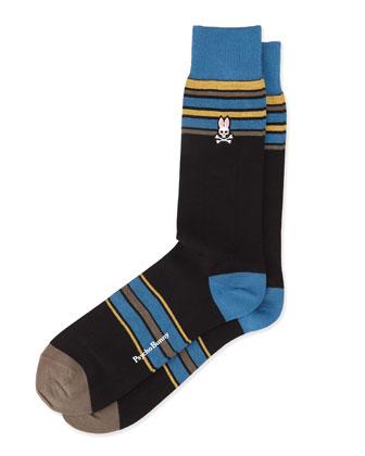 Wide-Stripe Crew Knit Socks