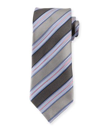 Textured Striped Silk Tie