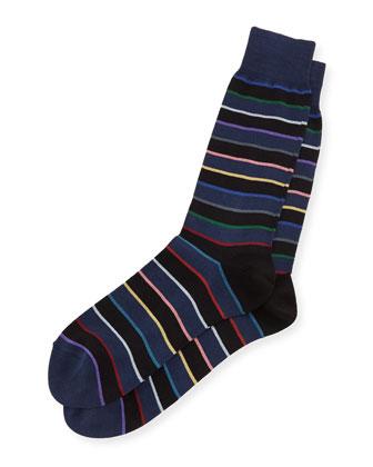 Rainbow Striped Socks, Navy