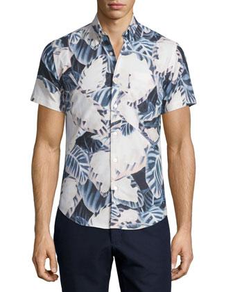 Short-Sleeve Leaves-Print Tide Shirt, Blush Pink/Multi