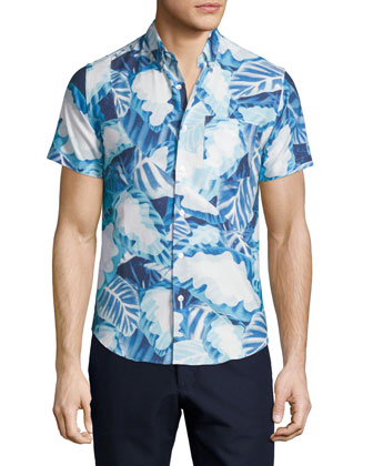 Short-Sleeve Leaves-Print Tide Shirt, Pelagic Blue/Multi
