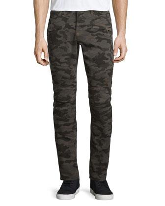 Blinder Biker Camo-Print Moto Jeans, Brown