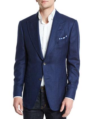 Spencer Peak-Lapel Half-Lined Cashmere-Blend Sport Jacket, Blue